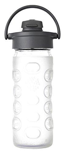 Lifefactory 284202 Bouteille avec Bouchon sport flip Verre/Silicone Transparent 6,5 x 6,5 x 21,5 cm 350 ml