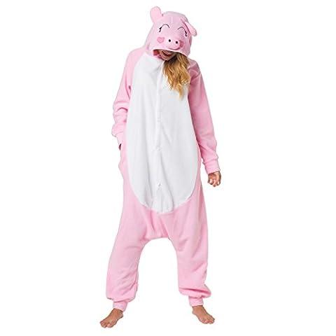 Katara 1744 - Schweinchen Kostüm-Anzug Onesie/Jumpsuit Einteiler Body für Erwachsene Damen Herren als Pyjama oder Schlafanzug Unisex - viele verschiedene