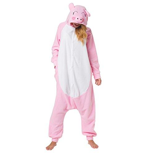 Für Tierkostüm Erwachsene Lustige - Katara 1744 - Schweinchen Kostüm-Anzug Onesie/Jumpsuit Einteiler Body für Erwachsene Damen Herren als Pyjama oder Schlafanzug Unisex - viele verschiedene Tiere