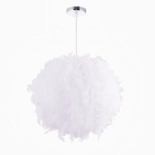 Blanco lámpara de techo de plumas Lámpara de Techo Pluma Colgante Iluminación E27 DIY Creativo Lámparas Araña Diámetro 40cm con línea colgante 100cm
