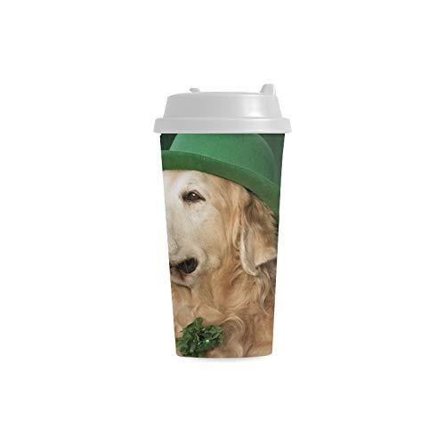 Largecoffee Tassen Golden Retriever Saint Patricks Day Kostüm 16 Unzen Doppelwandige Plastikbecher Pendler Reisekaffeetassen Für Frauen Trinken Sport Wasser - Das Trinken Aus Tassen Kostüm