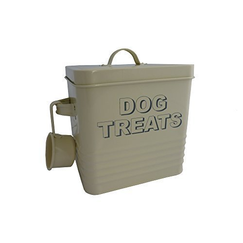 Dog Treats Dose, cremefarben - Metall Storage Pet Food
