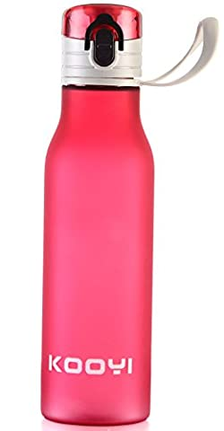 Kooyi Sports Water Bottle - One-handed Open and Drink Travel Mug, 100% Leak Proof (Red)