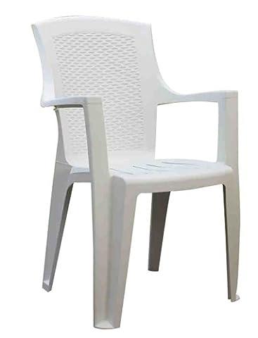Progarden 87100 Stapelsessel Eden, Vollkunststoff/Rücken in Geflechtoptik, L 62 x B 60 x H 89 cm, weiß