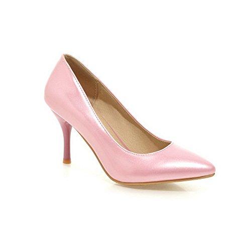 AllhqFashion Femme Pointu à Talon Haut Verni Couleur Unie Tire Chaussures Légeres Rose