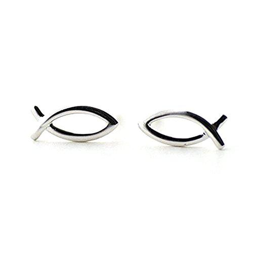 iszie Schmuck Sterling Silber Kleine Fische Form Damen oder Girl Fashion Ohrring (Ohrringe Fisch)