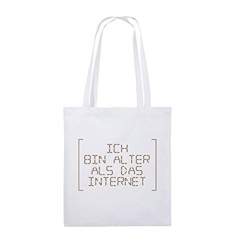 Comedy Bags - ICH BIN ÄLTER ALS DAS INTERNET - RETRO - Jutebeutel - lange Henkel - 38x42cm - Farbe: Schwarz / Silber Weiss / Hellbraun