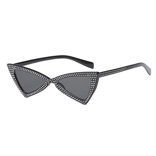 Inlefen Hombres de las mujeres Gafas de sol de ojo de gato Triángulo de metal Bisagras de metal
