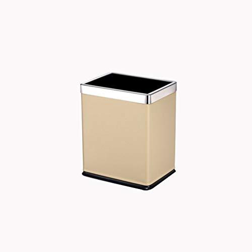 Xu Yuan Jia-Shop- Gebürsteter Edelstahl-Mülleimer, Quadratische Mülleimer-Aufbewahrungsbox, 8 Liter / 2,1 Gallonen (Color : Gold)