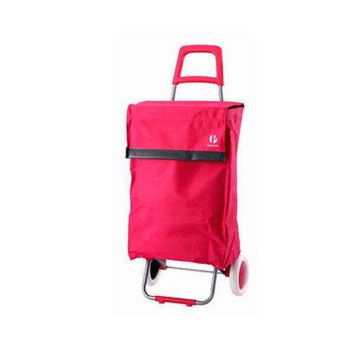 XXL Einkaufstrolley mit Standfuß Einkaufswagen Trolley (Einkaufsroller, Einkaufs-Tasche mit Rollen, Microfaser, Breite 41 cm x Tiefe 24 cm x Höhe 96 cm, pink)