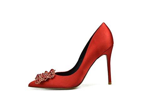 hen Stilettos Sexy Stiletto Heel High Party Dress Schuhe Hochzeit Schuhe Mit Diamant Vierkant Schnalle Seiden Satin,Red,UK3.5 (Rot Spike Heel Schuhe)