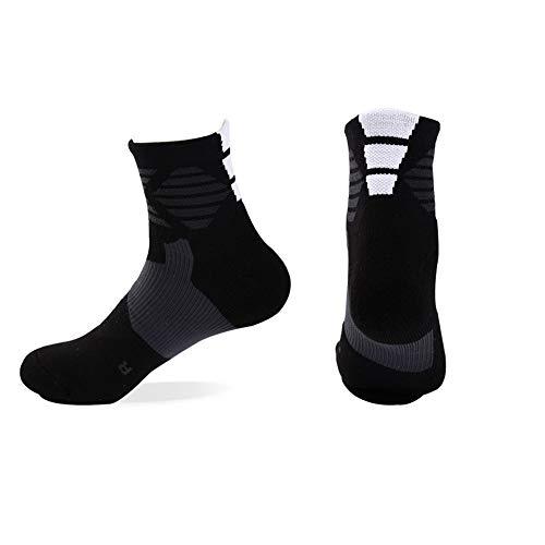 Wxmddn calzini da uomo/calzini da pallacanestro calzini sportivi/calzature sportive da esterno/calze da spugna di cotone pettinato antiscivolo,nere
