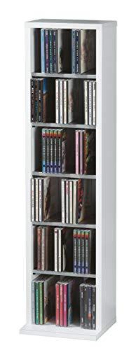 VCM Regal DVD CD Schrank Rack Möbel Aufbewahrung Holzregal Standregal Möbel Anbauprogramm Weiß