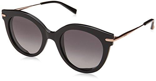 Max mara mm needle vi 9o 2m2, occhiali da sole donna, nero (black gold/grey), 50