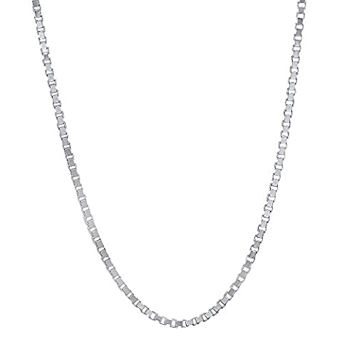 Solid 925 Sterling Silver 1mm Box Chain Italian Crafted Necklace, 61 cm