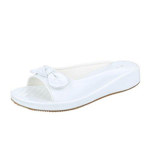 Pantoletten Damen Schuhe Jazz & Modern Keilabsatz/ Wedge Leichte Ital-Design Sandalen / Sandaletten Weiß