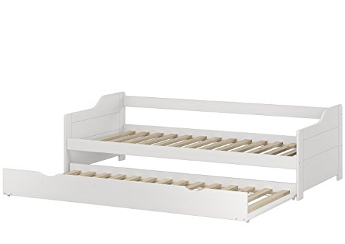 Erst-Holz® Sofabett Doppelbett Bettgestell 90x200 Einzelbett Bett + Bettkasten Kiefer weiß 60.34-09 W