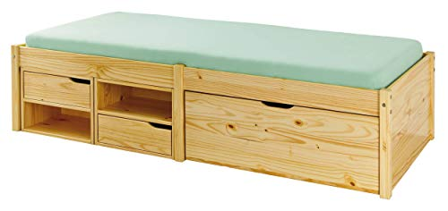 Kinderbett 90 x 200cm Holzbett FSC Bett Massivholzbett Stauraum Kojenbett Sofa-Bett Bettgestell Bettrahmen Echtholz Funktionsbett Kiefer massiv inkl. Lattenrost