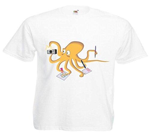 Motiv Fun T-Shirt Beschäftigte Krake Cartoon Spass Kult Film Serie Motiv Nr. 11543 Weiß
