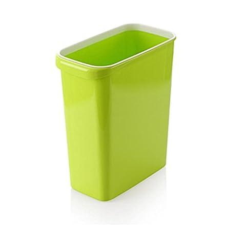 Poubelles Salle de Bain Chambre à Coucher Cuisine Ordures Ménagères Épaissies Sans Couvercle Plastique Couteaux à Lames 27.5 * 14.5 * 30.5Cm , Green