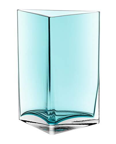 Leonardo Centro Vase Dreieck türkis, B/H/T: 18,3/23,5/10 cm, handgefertigt, lackiertes Glas, 046951 (Türkis Blumen)
