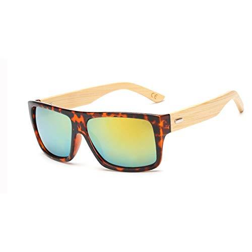LAMAMAG Sonnenbrille Holz Bambus Sonnenbrille Männer Frauen Gespiegelt Uv400 Sonnenbrille Holz Shades Gold Blau Outdoor Brille Sunglases Männlich, H