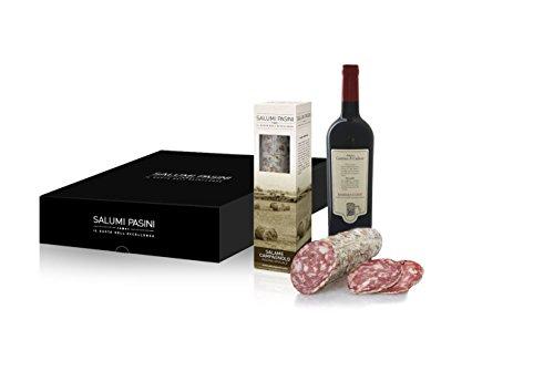 Confezione regalo gastronomico, vino e salumi in cesto regalo