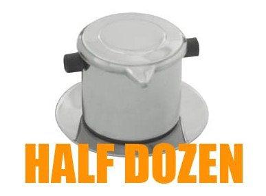 Half-Dozen (6-sets) Vietnamese Drip Coffee Maker, Coffee Filter Infuser Set, Slow-Drip, Single-Cup Serving, Stainless Steel