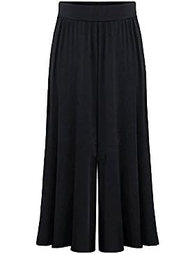 Mujeres Comodos Ancho Pierna Palazzo Pantalones Cintura Elástica Tallas Grandes