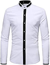 BUSIM Men's Long Sleeve Shirt Slim Mid-Color Stitching Autumn Casual Solid Color High-Neck Fashion Trend Personality...
