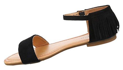 Damen Sandalen Schuhe Dianetten Western Style Fransen Schwarz beige camel gelb 36 37 38 39 40 41 Schwarz
