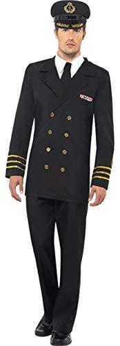Kostüm Navy Officer Uniform - Mens Naval Officer Navy Sailor Sea Captain Uniform Stag Do Fancy Dress Costume Outfit (Medium)