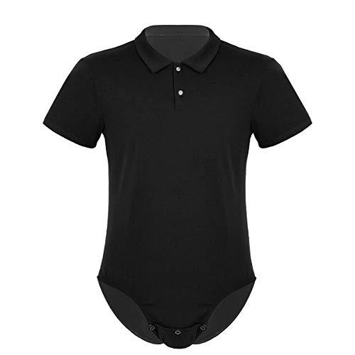 dPois Herren Hemdbody Shirt mit Umlegekragen Baumwolle Slim Fit Unterhemd Erwachsene Strampler Kostüm Sport Fitness Schwarz X-Large