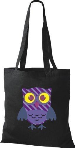 Stoffbeutel Bunte Eule niedliche Tragetasche mit Punkte Karos streifen Owl Retro diverse Farbe schwarz