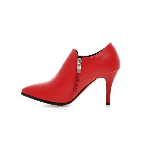 AllhqFashion Damen Reißverschluss Stiletto Pu Leder Anhänger Knöchel Hohe Stiefel Rot