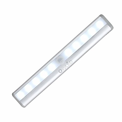 OxyLED t-02Schrankbeleuchtung tragbar DIY Stick-on Anywhere, ideal für Wandschrank Sous-bar, Kabinett LED-Lampe 10LED Automatische mit Bewegungsmelder, kabellos, magnetischer Sensor kalt - Motion-sensing-licht Leuchte