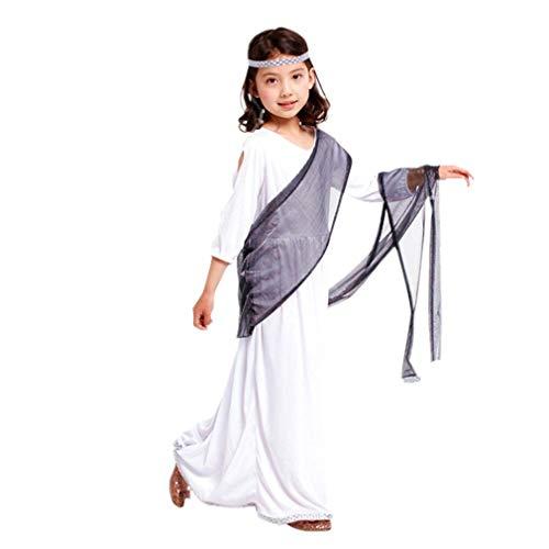 Unbekannt Halloween Kinderkleidung Mädchen Prinzessin Kleid Kleine Hexe Vampir Kostüm Maskerade Zeigen Kleid Kürbis Kleid Athen Römischen Prinzessin Kostüm Geeignet für 120-130 cm (L)