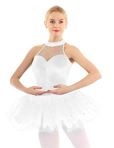 Weiße Kostüm Ballerina - iEFiEL elegant Damen Ballettkleid Glitzer Pailletten Ballett Tutu mit Samt Balletttrikot Ballettanzug Tanzkleid Wettbewerb Ballerinas Kostüm Weiß Medium