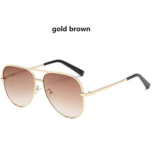 LAOGUAISHOU Mode Sexy Frauen Große Runde Metall-Sonnenbrille Mit Farbverlauf Männer Schwarze Brille Rahmen Retro-Spiegel Sonnenbrille UV400 (Lens Height : 57mm, Lens Width : 60mm-GoldBrown)