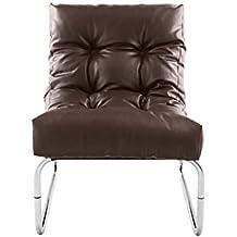 Moderna Boudior cuero marrón del Faux silla de salón