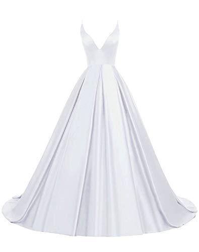 Rosae Satin Abendkleid Lange V-Ausschnitt Satin Hochzeitskleid Mädchen Prom Kleider DE 40 Weiß
