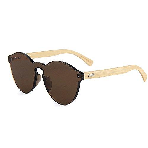 Goodvk Einfache Brille Handgemachte Einteilige Art farbige Linse Unisex Sonnenbrille Bambus Bein UV Schutz für Männer Frauen (Farbe : Braun)