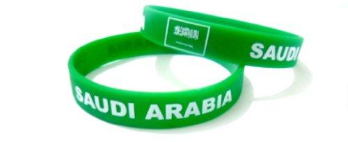 Unisex País Bandera nacional de silicona pulsera de goma de moda pulsera brazalete ( Arabia Saudita / KSA)