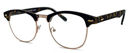 50er Jahre Retro Nerd Brille Halbrahmen Hornbrille Clubmaster Stil Rockabilly Streberbrille (Matt Braun / Gold)