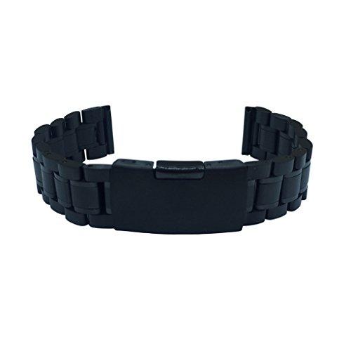 Nero cinturini in acciaio per orologi,finale dritto, misure 24 mm