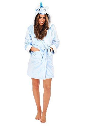 Lora Dora Damen kurzer Luxus-Fleece-Bademantel mit Gürtel, Damen-Bademantel, Größe UK 8–18 Gr. M, Blau, Einhorn (Weihnachten Boutique Kleid)