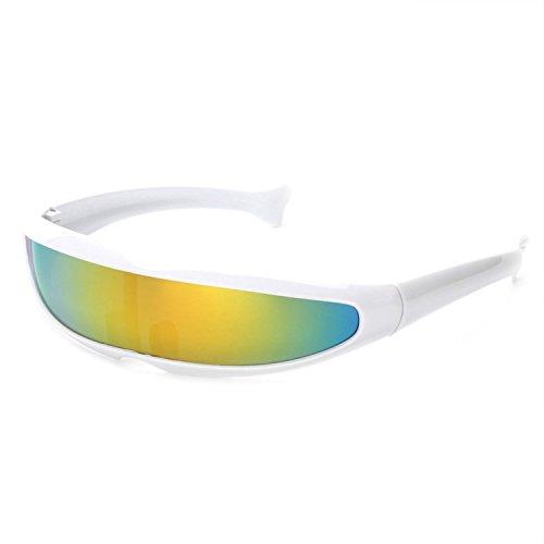 (Batsomer Futuristische Schmale Zyklop-Sonnenbrille Uv400-Persönlichkeit-gespiegelte Linsen-Eyewear-Glas-lustige Partei-Maske, weiß - Gelbe Linse)