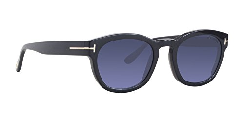 Tom ford ft0590 01v 51, montature unisex-adulto, (nero lucido\\blu), 51.0