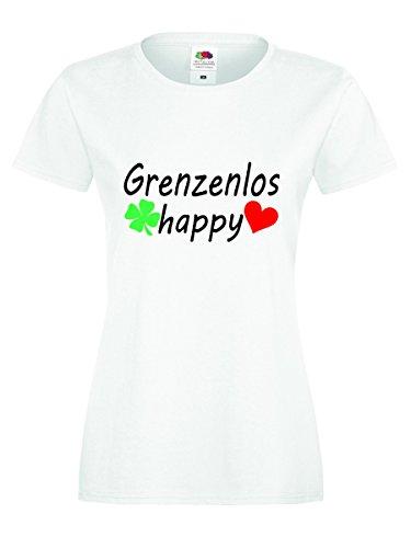 Grenzenlos happy :-) vom Shirt-Checker Weiss-Schwarz