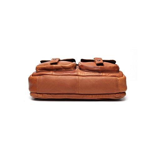 Marwar , Herren Schultertasche KMWB207-chocolate KMWB207-light red